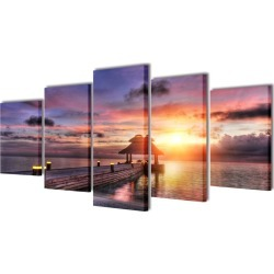Beach With Pavilion Canvas Wall Print Set 200 x 100 Cm found on Bargain Bro Philippines from Simply Wholesale for $82.45