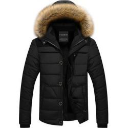Costbuys  Winter Coat Men Fur Hooded Thick Parkas Men's Casual Down Warm Velvet Parka Overcoat Plus size Clothes - Black / XXXL