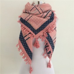 Costbuys  Woman Scarf square scarves Printed Women Wraps Winter autumn ladies shawl tassel scarf - F Pink and Navy found on Bargain Bro India from cost buys for $67.00