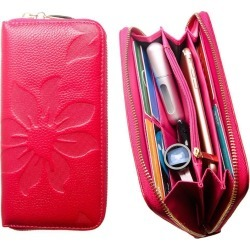Samsung Galaxy J7 Aero - Genuine Leather Embossed Flower Design Clutch, Hot Pink found on Bargain Bro India from cellularoutfitter.com dynamic for $9.99