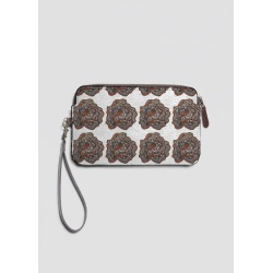 Leather Statement Clutch - Australica Tribal Flower in Black/Brown/Grey by VIDA Original Artist found on Bargain Bro India from SHOPVIDA for $80.00