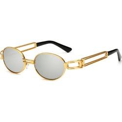 Costbuys  Vintage Designer Fashion Sunglasses Oval Frame UV Protection Ocean film sunglasses Retro punk sunglasses FML - silver