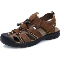 Costbuys  sandals men comfort genuine leather men sandals classics summer sandals men non-slip outdoor beach sandals - light bro
