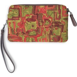 Leather Statement Clutch - Coulours Of Africa #02 in Brown/Red by PRIDE Original Artist