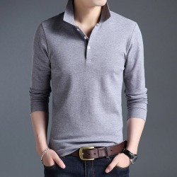 Costbuys  Top Grade New Fashion Men Polo Shirt Solid Color Slim Fit Polo Men Long Sleeve Mercerized Cotton Casual Polos Shirt Me