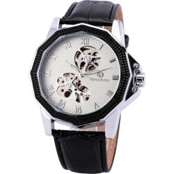 Costbuys  Delicate Fashion Men Mechanical Watches Top Brand Luxury Skeleton Roman Numerals Dial Best Gifts for Male - BLACK WHIT
