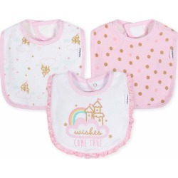 3-Pack Girls Princess Castle Terry Bibs - One Size