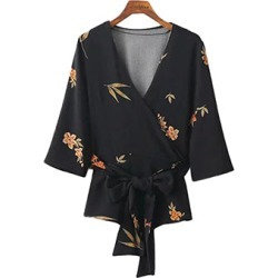 Costbuys  Autumn Top Kimono Blouse Deep V Neck Casual Harf Sleeves Blusas New Floral Print Sashes Bow Women Slim Ladies Female S