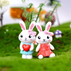 Costbuys  2pc/lot Lovely Rabbit couple Accessories Doll House Decoration animal models plastic girl toy - With Heart