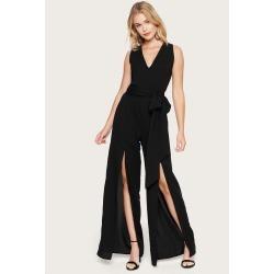 Bebe Women's Slit Wide Leg Jumpsuit, Size 10 in Black Polyester
