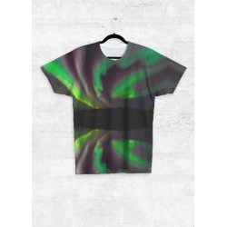 Unisex Tee - Front Print - Aurora Ribbon Dance in Green by VIDA Original Artist