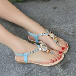 Costbuys  Women shoes sandals comfort sandals women Summer Classic Rhinestone fashion high quality sandals - Sky Blue / 9.5 found on Bargain Bro India from cost buys for $104.99