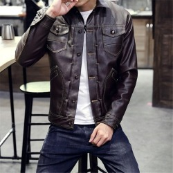 Costbuys  autumn and winter men's fashion leather coat lapel youth leather jacket Multi Pocket slim PU leather - brown / XL