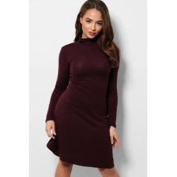 Fine Burgundy Knit High Neck Dress