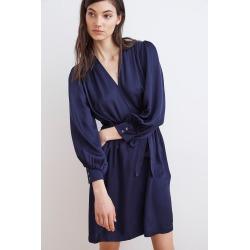 Charis Satin Viscose Wrap Dress (XS), Velvet by Graham & Spencer