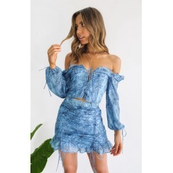 Lioness Feng Shui Top Blue Animal Print - XS found on MODAPINS from beginning boutique for USD $48.48