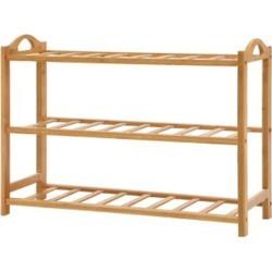 3 Tiers Bamboo Shoe Rack Storage Organizer Wooden Shelves
