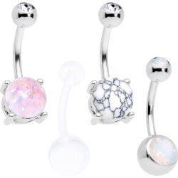 Clear Gem White Faux Opal Turquoise Bioplast Belly Ring Set Of 4 From Body Candy found on Bargain Bro India from Body Candy for $18.99