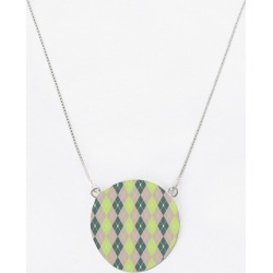 Oversized Round Pendant - Rhombus Color Comb. 10 in Brown/Green/Plaid by VIDA Original Artist