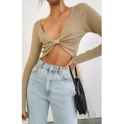 Haris Bow Sweater Nude - 6 found on Bargain Bro India from Beginning Boutique US for $39.99
