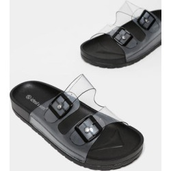 Twin Transparent Straps Black Sliders