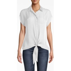 Nicole Miller Silk Tie Front Blouse In Ivory | Size Petite found on MODAPINS from Nicole Miller for USD $255.00
