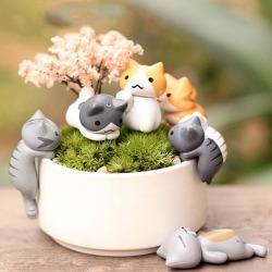 Costbuys  6pcs Fairy Garden Decorations Cartoon Mini Cat Crafts Micro Landscape Home Decoration Accessories For Home
