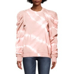 Nicole Miller Tie Dye Puff Sleeve Crew Neck Sweatshirt In Olive Green | Silk/Cotton | Size Extra Large found on MODAPINS from Nicole Miller for USD $135.00