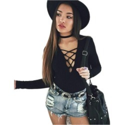 Costbuys  Autumn Long Sleeve Women Short Bodysuit Women's Hollow Out Deep V-neck Sexy Knitted Jumpsuit Rompers - Black / L