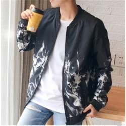 Costbuys  Fashion Spring Autumn Hot Flame Men's Jacket Teen White Red Flame Baseball Clothes - black / M