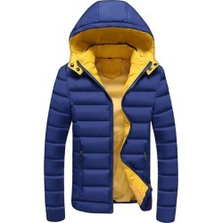 Costbuys  Winter Parkas Men's Coats Mens Casual Jackets Male Overcoat Mens Clothing Warm Thick Hooded Padded 5XL - Dark Blue / M