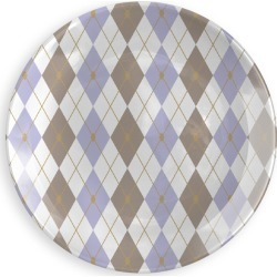 Round Glass Tray - Rhombus Color Comb. 5 in Blue/Brown/White by VIDA Original Artist