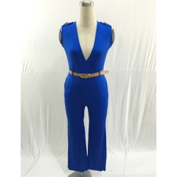 Costbuys  Women Summer Jumpsuits Sleeveless V-neck Waist Belt Solid color Rompers Full Length Pants Coveralls - blue / M found on Bargain Bro India from cost buys for $73.31
