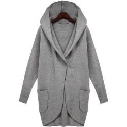 Costbuys  Winter Coat Women Trench Coats Pocket Long Sleeve Hooded Women Overcoat Cotton Blend Cardigans Plus size - grey / M