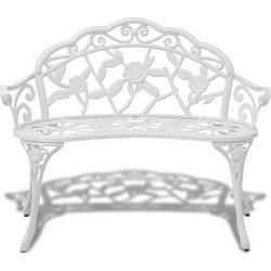 Garden Bench 100 Cm Cast Aluminum White