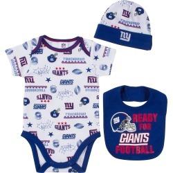 Giants Baby Boy Bodysuit, Cap and Bib Set - 3-6M