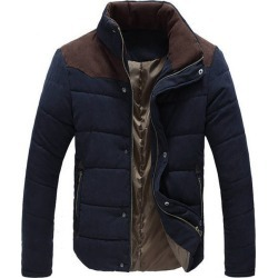 Costbuys  Winter Men's Jacket Warm Thick Men Parkas Fashion Thermal Solid Male Coats Casual Clothing LA144 - Dark blue / 4XL
