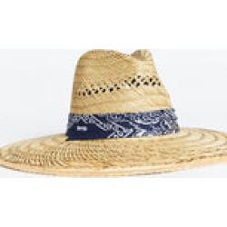 Straw Hat with Bandana Band ~ Navy