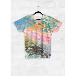 Unisex Tee - Front Print - Acrylic Cells in Blue/Brown/Green by Haris Kavalla Original Artist