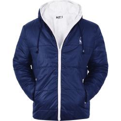 Costbuys  Winter Coat Men Casual Hooded Patchwork Cotton Padding Parka Men Clothing Winter Jacket Men - Deer navy / S