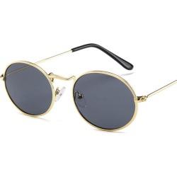 Costbuys  Oval Women Sunglasses Men Glasses Lady Luxury Retro Metal Sun Glasses Vintage Mirror UV400 oculos de sol - Gray