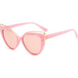 Costbuys  Cat eye Sunglasses rose gold lens mirror Women Designer Eyewear black Cateye Glasses oculos de sol - pink / UV400