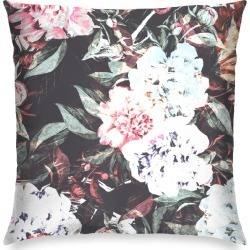 Square Pillow - Dark Floral Abstract in Pink/White by Always Seek Original Artist