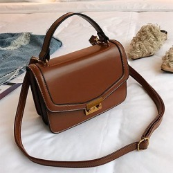 Costbuys  Women Bag Fashion PU Leather Women's Handbags High Quality Top-Handle Bags Totes Women Messenger Bag Sac A Dos - Brown