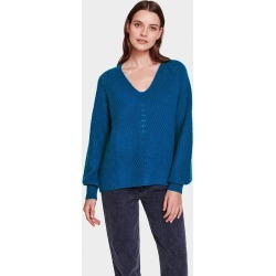 White + Warren Cashmere Puff Sleeve V Neck Sweater in Cosmic Teal Heather size XS