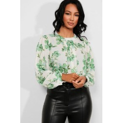 Green Floral Print Blouse found on Bargain Bro from SinglePrice for USD $5.10
