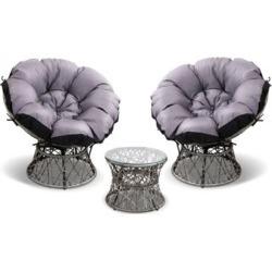 Papasan Chair and Side Table Set