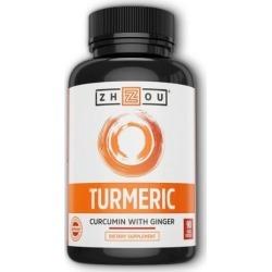 Turmeric Curcumin with Ginger 90 Veg Caps by Zhou Nutrition
