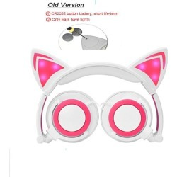 Costbuys  New LED Cat Ear Wired Cute Headphone Big Gaming Luminous Earphone Headset With Mic For iPhone Samsung Computer Phone H