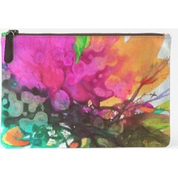 Carry-All Pouch - Carry All Blossoming 112 in Green/Orange/Pink by VIDA Original Artist